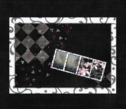 Black & White Vintage Wallpaper - Black & Pink Wallpaper with Hearts & Flowers