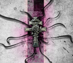 Pink & Black Cross Wallpaper - Grunge Goth Wallpaper with Cross