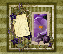 Beautiful Vintage Flowers Wallpaper - Green & Purple Vintage Background