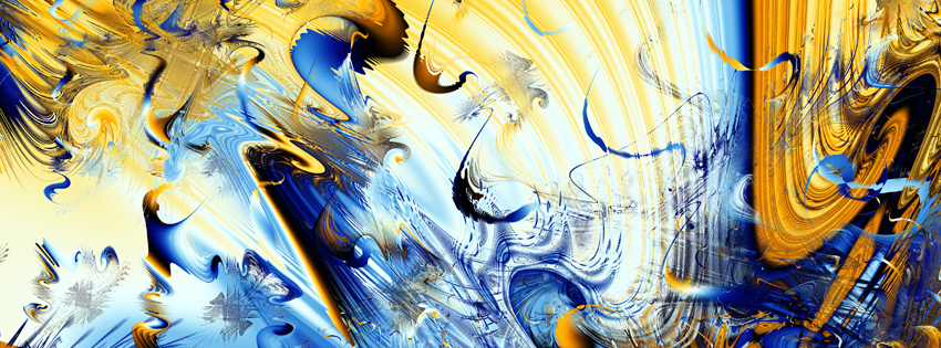 Blue and Yellow Abstract Facebook Cover