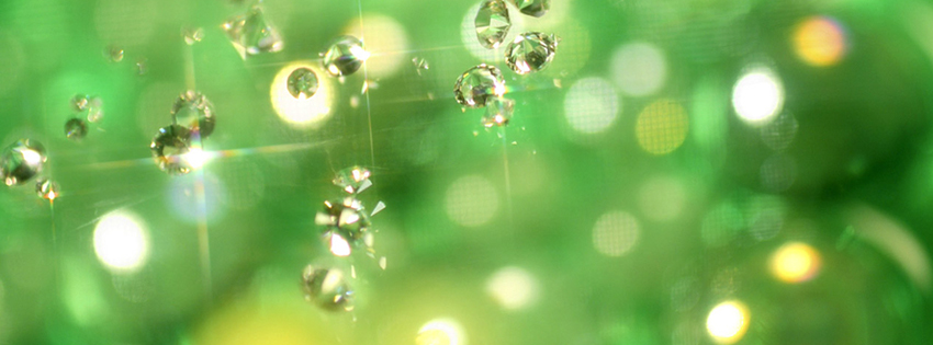 Green Glitter Jewels Facebook Cover