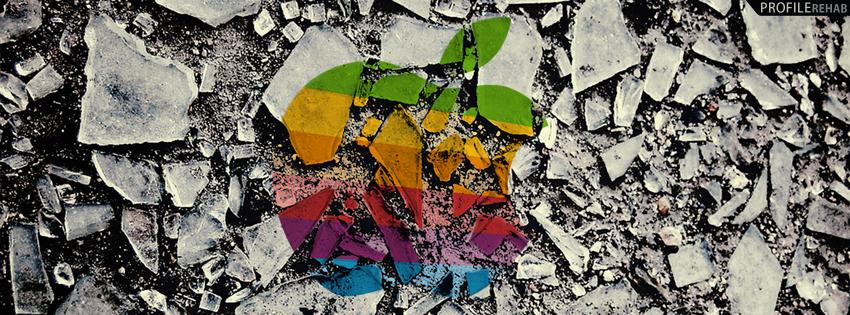 Broken Glass Apple Logo Cover for Facebook