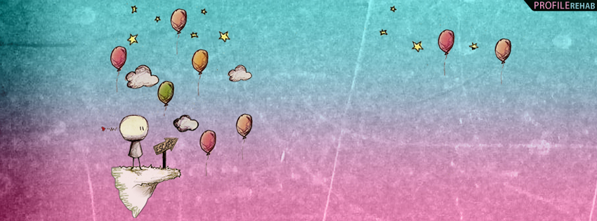 Pink & Blue Artistic Balloons Facebook Cover