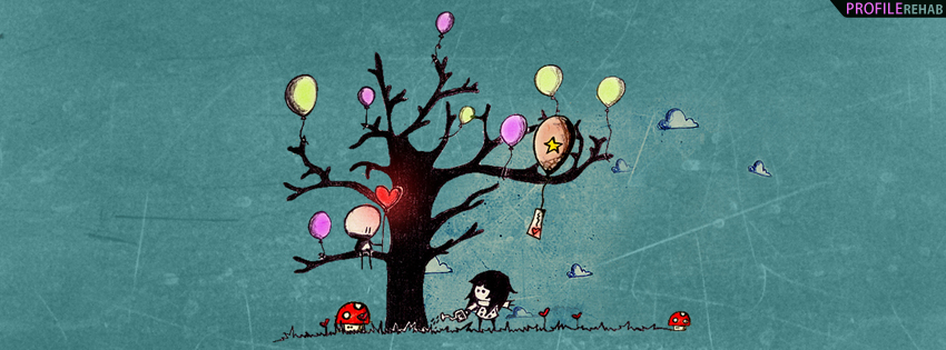 Artistic Balloons and Hearts Timeline Cover