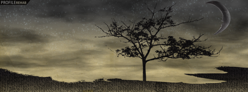 Artistic Tree & Moon Facebook Cover