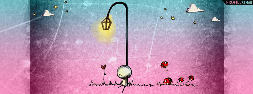 Artistic Love Facebook Cover with Mushrooms - Images of Broken Hearts,
