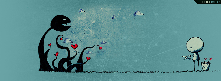 Blue & Black Hearts Timeline Cover for Facebook