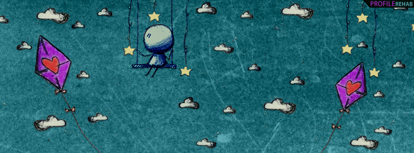 Artistic Kites in Sky Drawing Facebook Cover