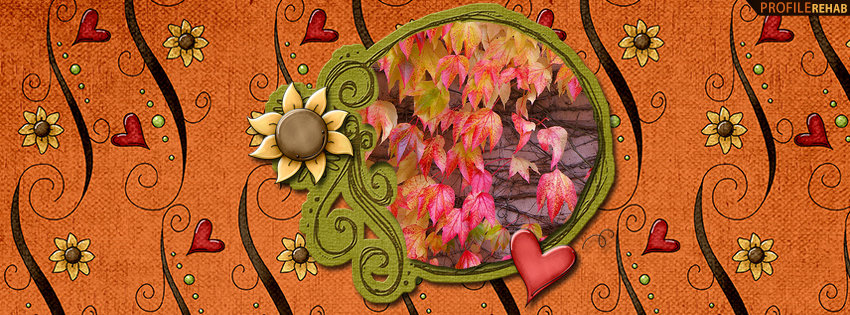 Cute Fall Sunflowers and Hearts Facebook Cover - Cute Fall Pictures Free