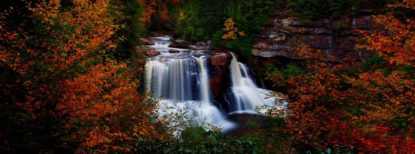 Beautiful Fall Waterfall Facebook Cover - Waterfall Pictures - Beautiful Waterfall Images  Preview