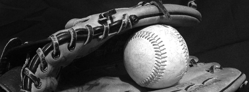 Black and White Baseball Glove & Baseball Facebook Cover
