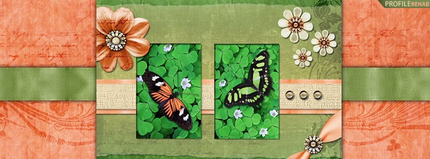 Green & Orange Butterflies Facebook Cover for Timeline