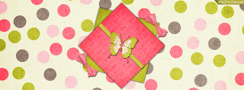 Pink & Green Polka Dots and Butterflies Cover for Facebook