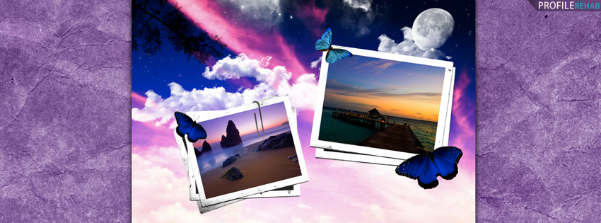 Purple & Blue Scenic Butterfly Facebook Cover