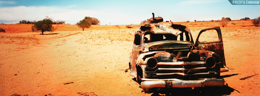 Abandoned Car in Desert Facebook Cover for Timeline