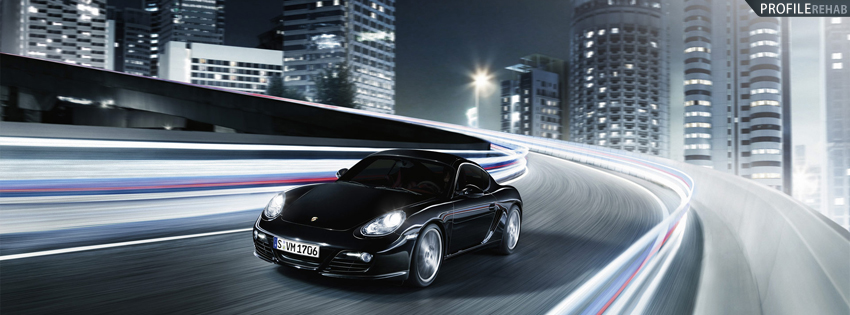 Black Porsche Car Facebook Cover