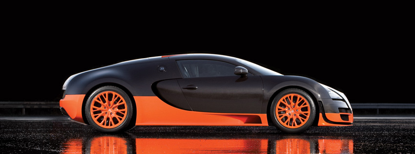 Orange & Black Bugatti Car Facebook Cover