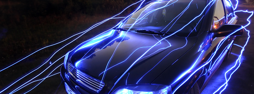 Cool Lightning Car Facebook Cover