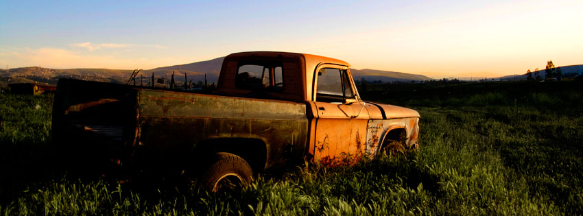Old Truck in Sunset Facebook Cover