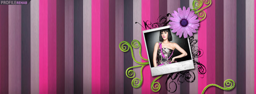 Purple & Pink Striped Katy Perry Facebook Cover