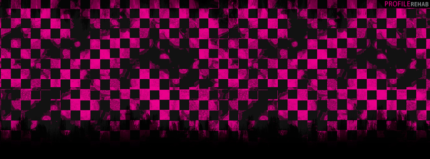 Pink and Black Grunge Checkers Facebook Cover