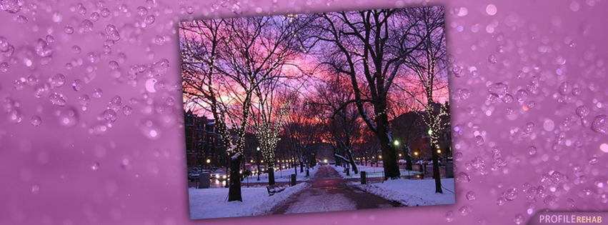 Winter Sunset Facebook Covers - Christmas Winter Scenes Backgrounds