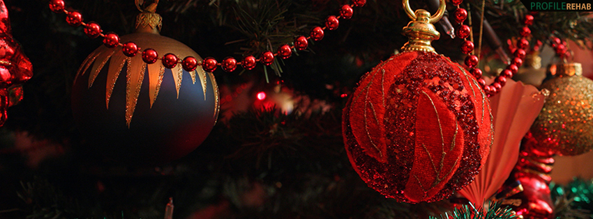 Red Xmas Ornaments Facebook Cover - Beautiful Decorated Christmas Trees - X-mas Photo Preview