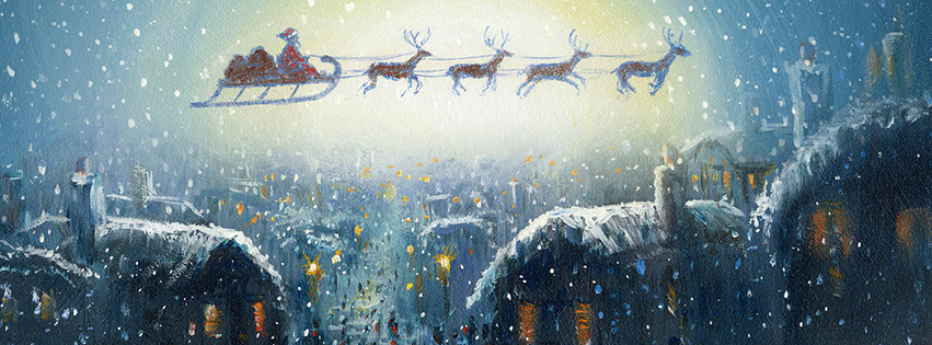 Santa claus reindeer facebook cover for Holiday themed facebook cover photos