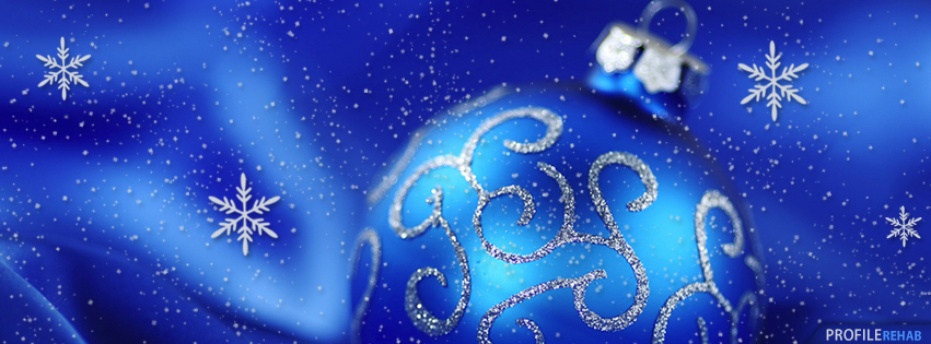 Blue christmas ornament with snowflakes facebook cover for Holiday themed facebook cover photos