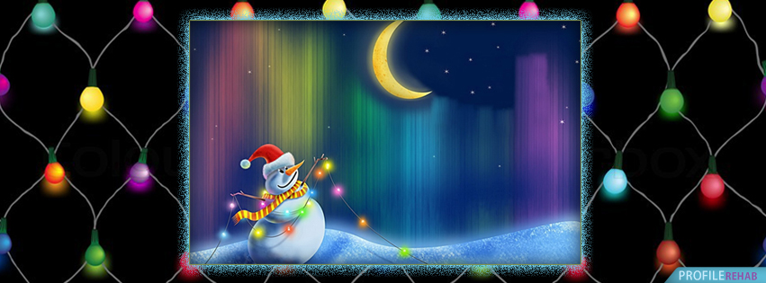 Snowman Pictures & Christmas Lights Facebook Cover