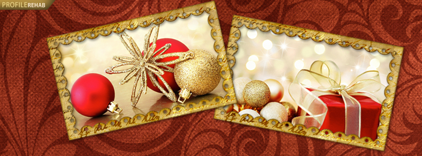Pictures of Christmas Ornaments - Red & Gold Christmas Design for Facebook