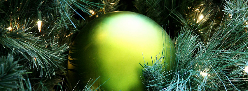 Green Christmas Ornaments Facebook Cover - Facebook Christmas Covers Free - X-mas Pictures
