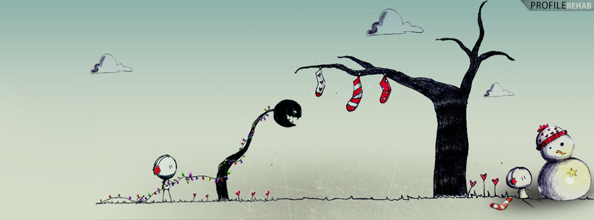 Cute Christmas Images for Free - Cute Christmas Snowman Stockings Facebook Cover
