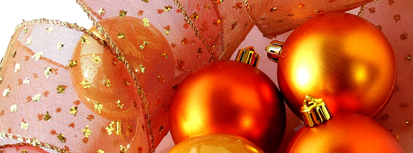 Orange Christmas Ornaments Timeline Cover  -  Christmas Pictures for Facebook Preview