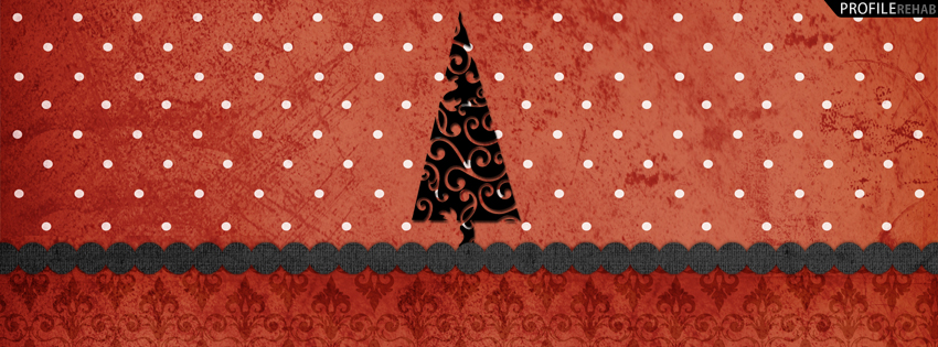 Red & Black Christmas Tree Facebook Cover - Christmas Tree Picture - Xmas Tree Pics