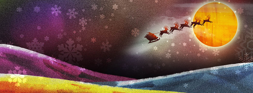 Santa Images - Santa Claus Pictures - Santa Claus and Reindeer Facebook Cover