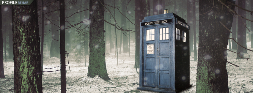 Tardis in the Winter Forest Facebook Cover