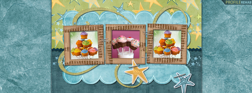 Colorful Stars and Cupcakes Facebook Cover for Timeline
