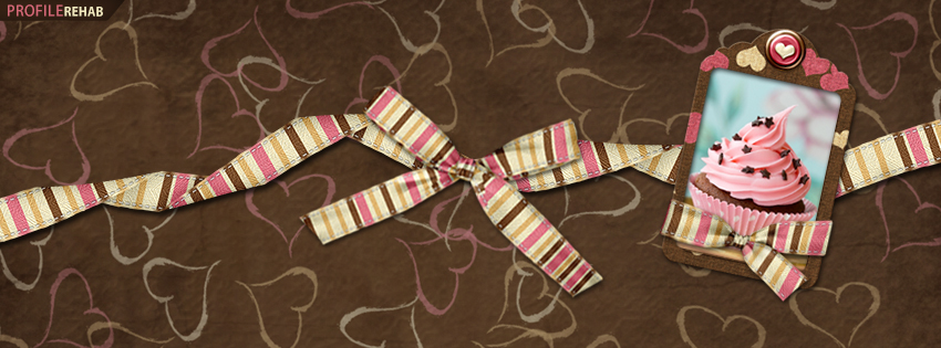 Brown & Pink Cupcake Facebook Cover - Valentine Cupcake Images