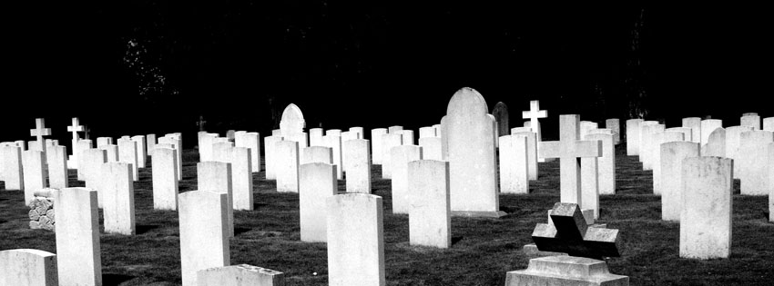 Creepy Graveyard at Night Facebook Cover - Halloween Images Black and White Preview