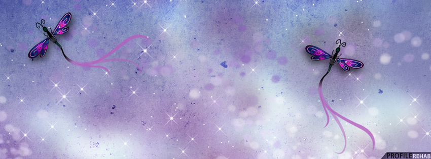 Purple & Blue Dragonfly Facebook Cover Preview