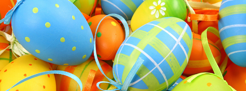 Blue and Green Easter Eggs Facebook Cover Photos