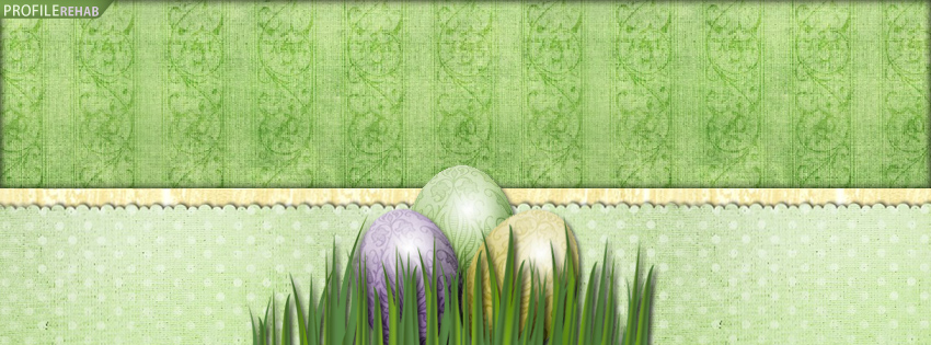 Green Vintage Easter Eggs Facebook Cover - Vintage Easter Pictures