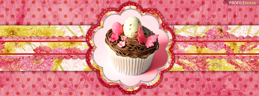 Hot Pink Easter Egg Cupcake Facebook Cover Photos