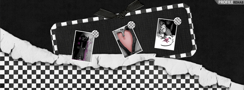 Black and White Emo Checkers Facebook Cover - Romantic Kiss Images