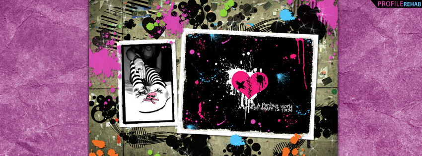 Emo Splatter Facebook Cover with Heart Quote
