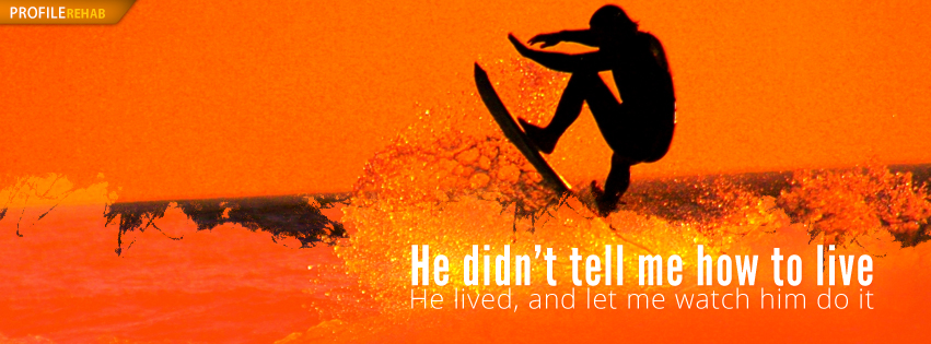 Surfing Facebook Cover with Quote about Dads