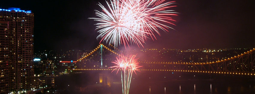 Fireworks over Bridge Facebook Cover