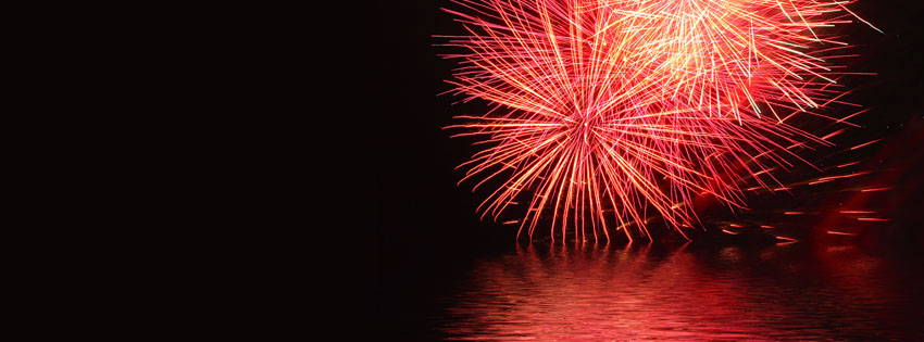 Fireworks over Black Ocean Facebook Cover