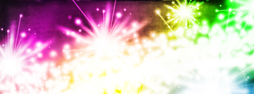 Neon Fireworks Facebook Cover